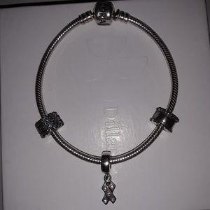 Pandora SS bracelet, charm, 2 clips